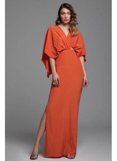 Tuba Ergin İpek Bel İşlemeli Maxi Biel Elbise Oranj